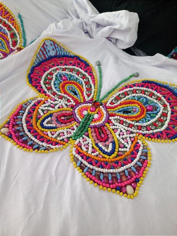T-shirt Branca bordada à mão até o tamanho Plus Size - Colorful Butterfly