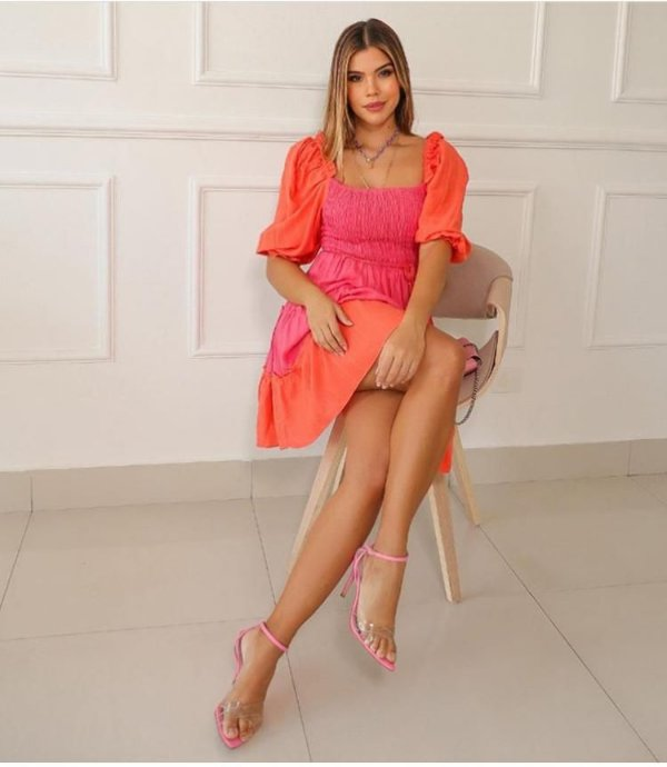 Vestido Gabi - Rosa e Laranja