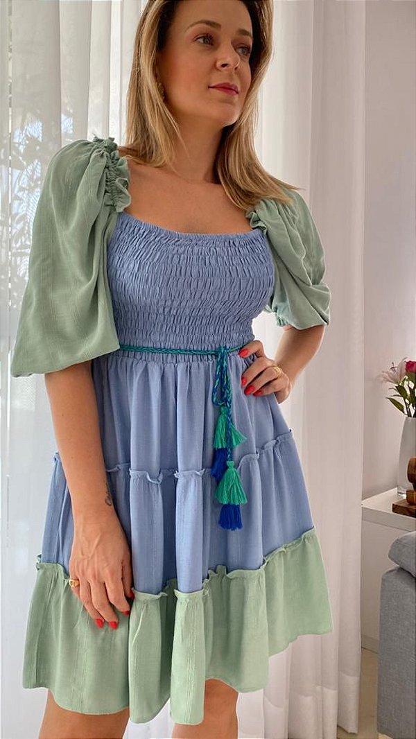Vestido Gabi - Azul e Menta