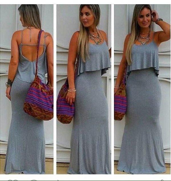 Vestido longo sereia total gray