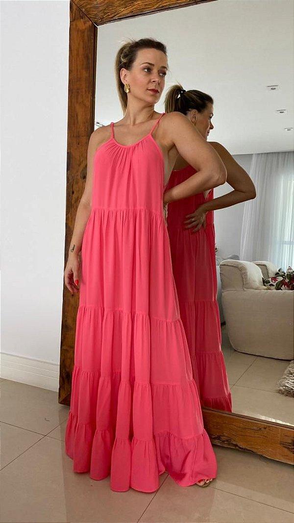 Vestido Longo Camadas - Rosa