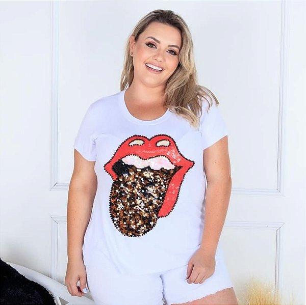 T-shirt branca bordada à mão - Stones Animal Print