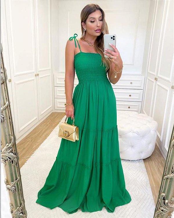 Vestido Longo com Lastex - Verde primavera
