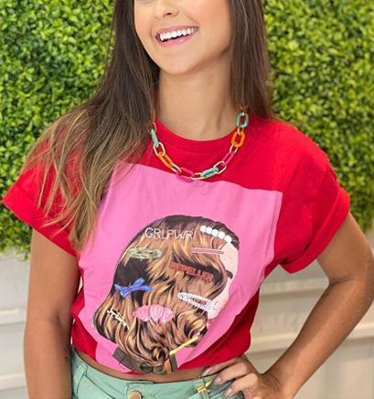 Tshirt Hair clip Girl - Vermelha