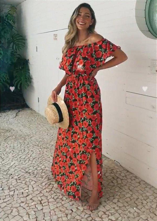 Vestido longo - Floral Vermelho