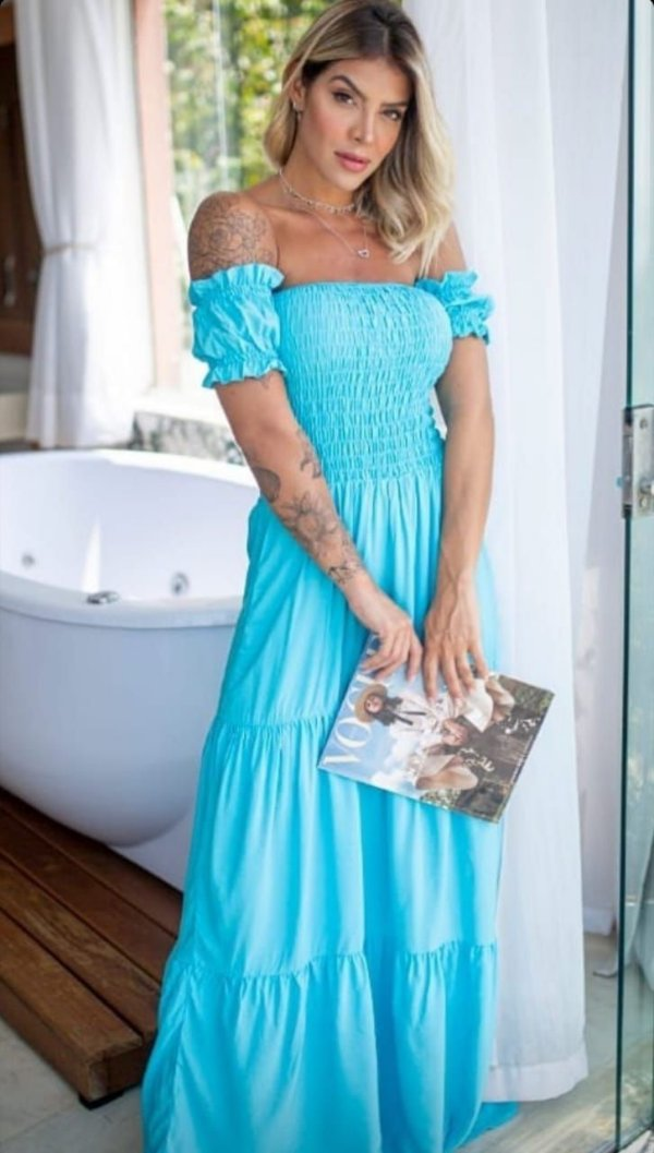 Vestido ciganinha elastex azul