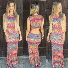 Vestido sereia longo colorido maravilhoso