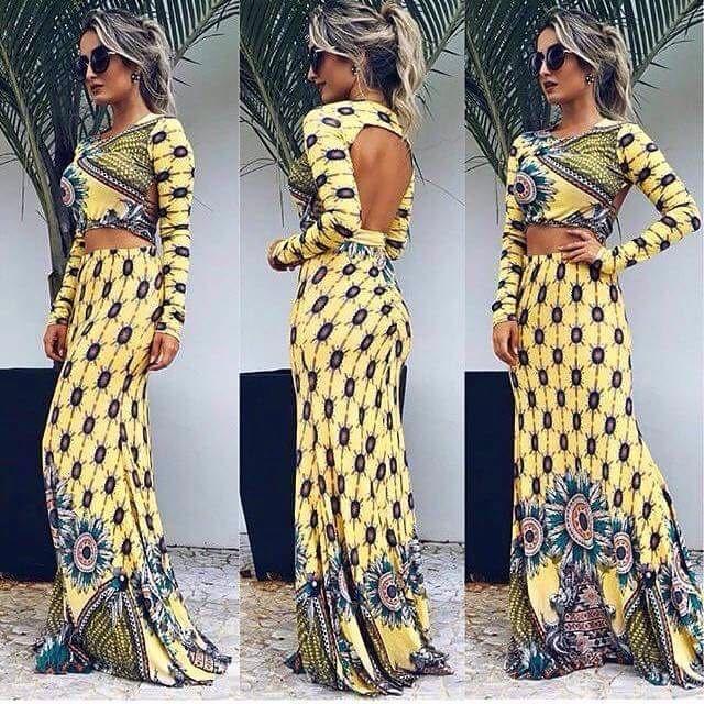 Vestido sereia manga longa com linda estampa em tons de amarelo