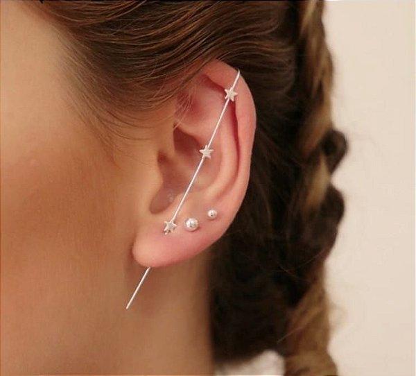 Ear pin três estrelinhas em prata