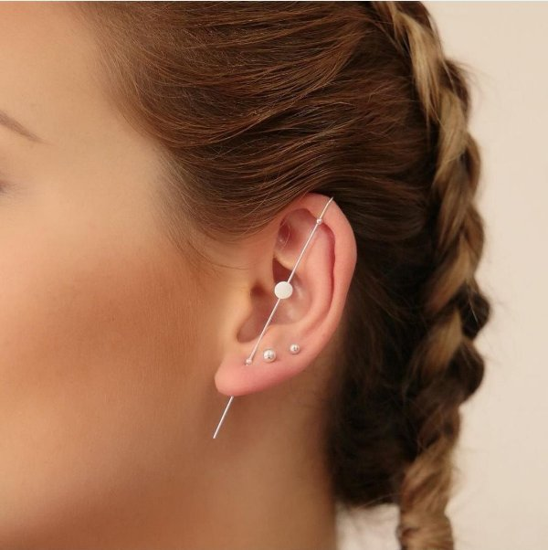 Ear pin esfera em prata