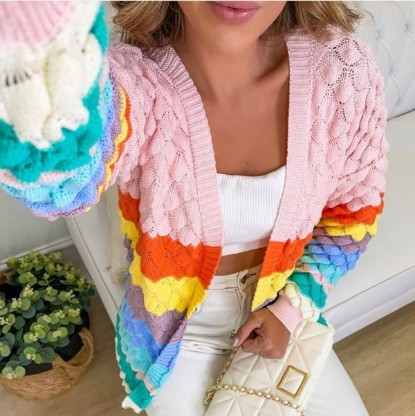 Casaco em tricot rainbow