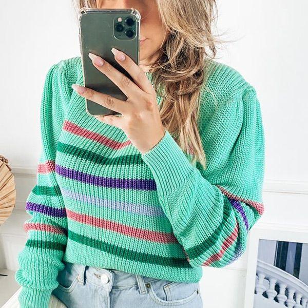 Blusa em tricot fang listras verde