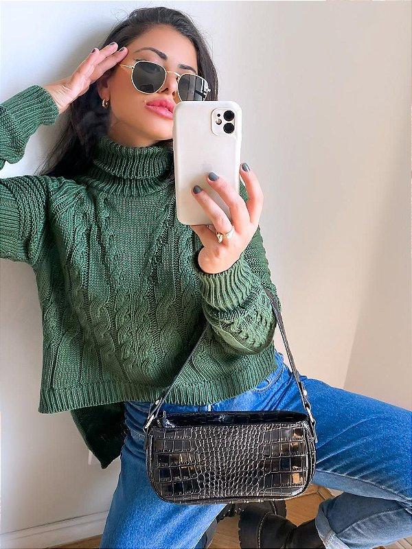 Mini Vest legue trança tricot verde