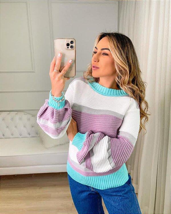 Blusa em tricot sweet cotton com manga bufante