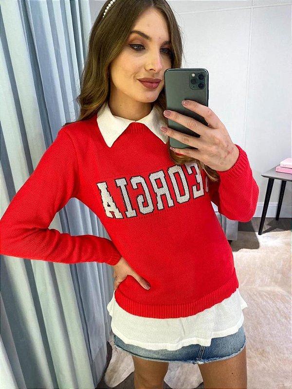 Blusa Georgia em tricot modal com aparência de sobreposição