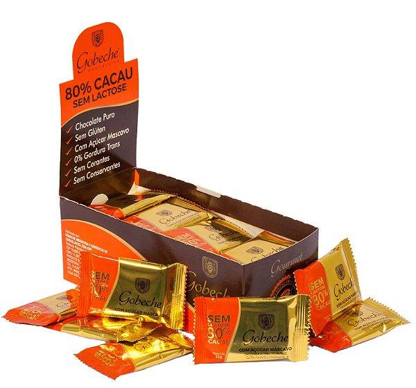 Chocolate Gourmet 80% Cacau Sem Lactose - Gobeche - Display com 44 unid. 12g