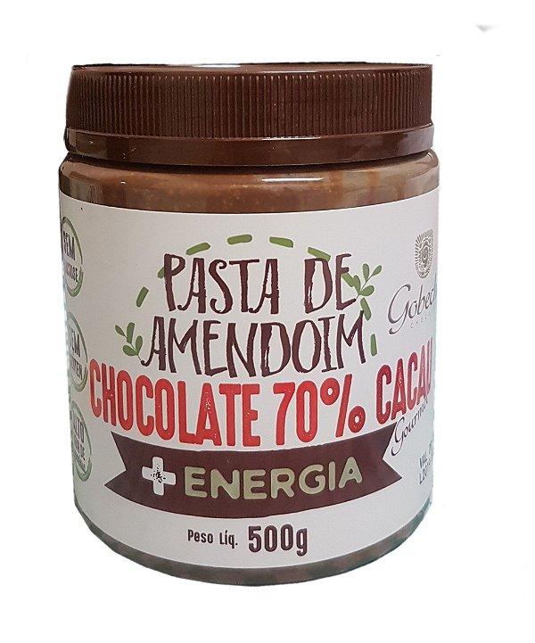 PASTA DE AMENDOIM COM CHOCOLATE 70% CACAU E MEL- 500g