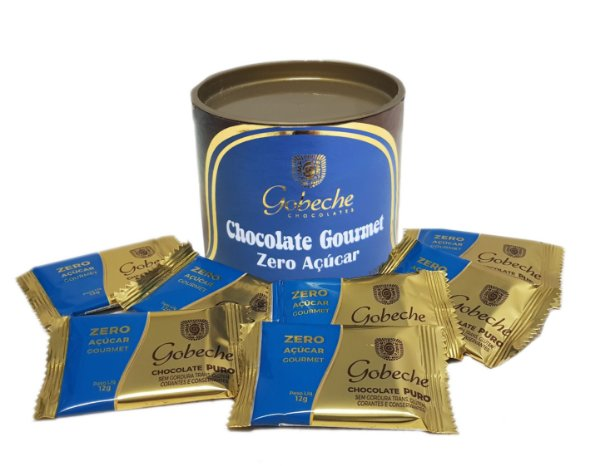 Lata Chocolate Gourmet Zero Açúcar Gobeche - 10 tabletes de 12g