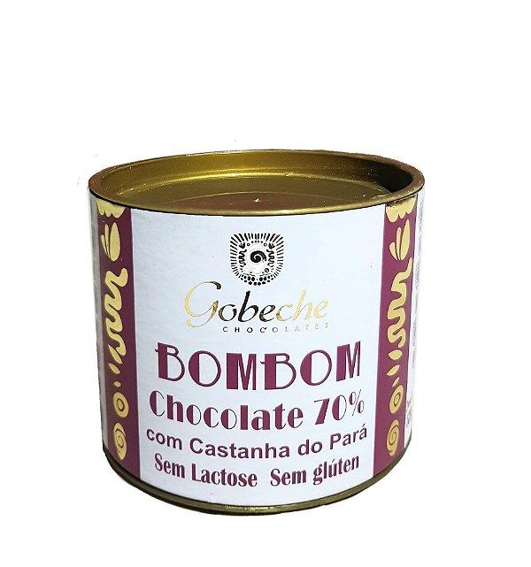 Lata de Bombons Chocolate 70% Cacau sem Lactose com Castanha do Pará - 10 bombons de 12g