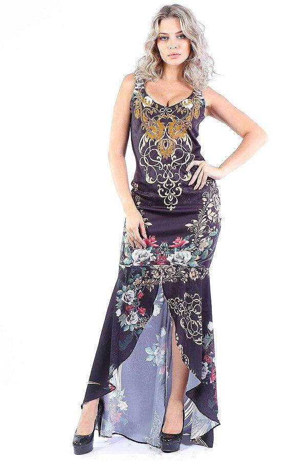 Vestido Longo Bana Bana com Fenda