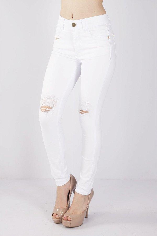 Calça Jeans Bana Bana High Skinny com Destroyed Branca