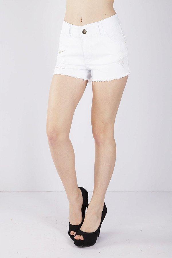 Shorts Jeans Bana Bana Barra Desfiada Branco