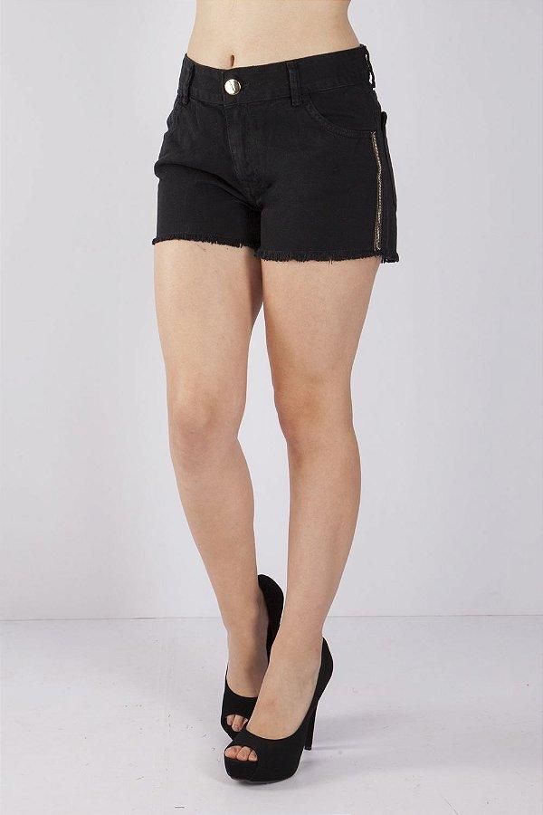 Shorts Bana Bana com Desfiado Preto