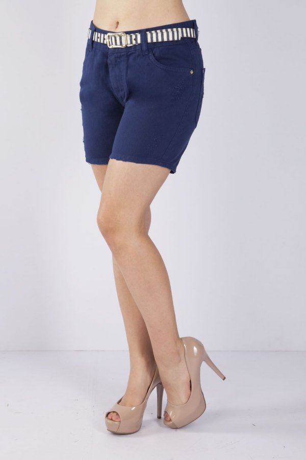 Bermuda Jeans Bana Bana Girlfriend com Cinto Azul Marinho