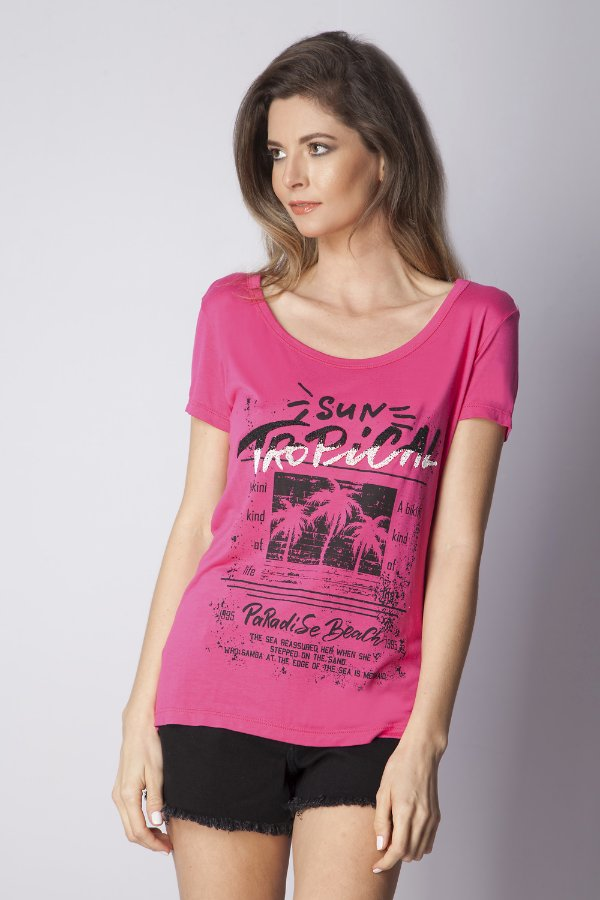 T-Shirt Bana Bana com Decote Costas Pink