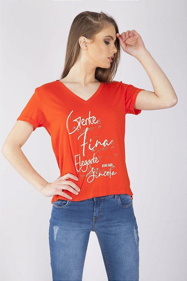 T-Shirt Bana Bana com Decote Costas Coral