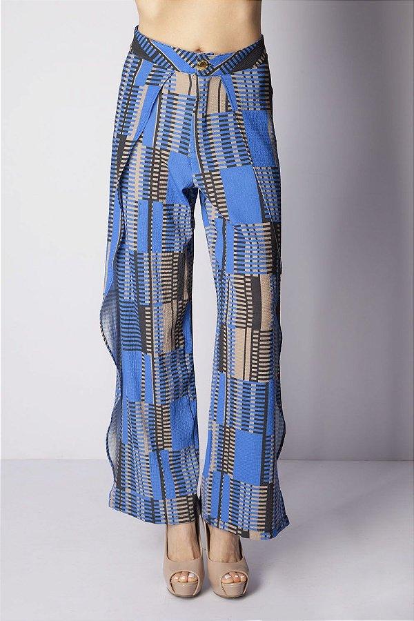 Calça Bana Bana Pantalona Estampada Azul Bic