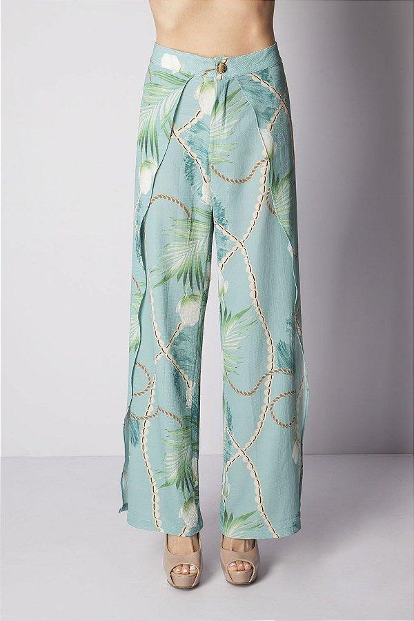 Calça Bana Bana Pantalona Estampada Verde Água