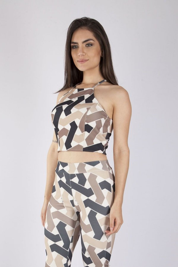 Cropped Bana Bana High Neck Estampado Nude
