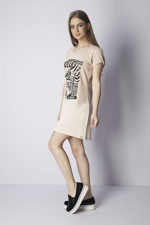 Vestido Curto Bana Bana T-Shirt Dress Bege