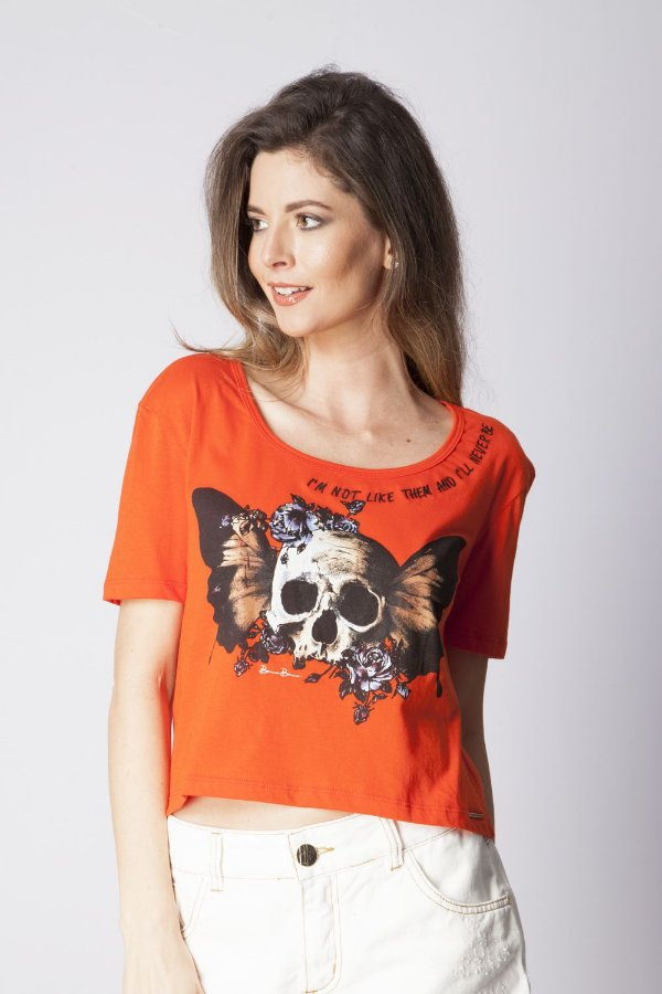 T-Shirt Bana Bana com Estampa no Decote Laranja