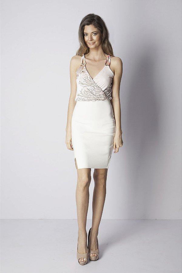 Vestido Curto Bana Bana Transpassado Estampado Off White