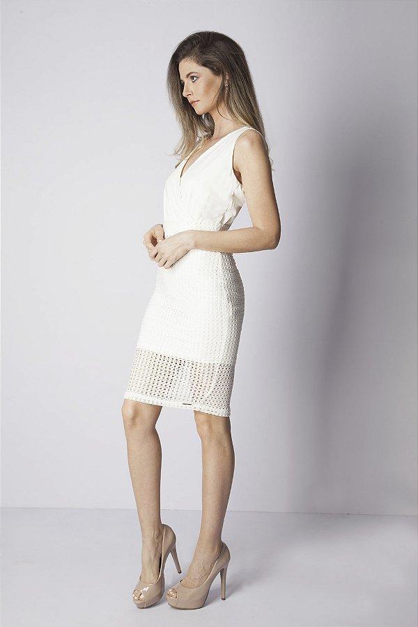 Vestido Curto Bana Bana de Renda Off White