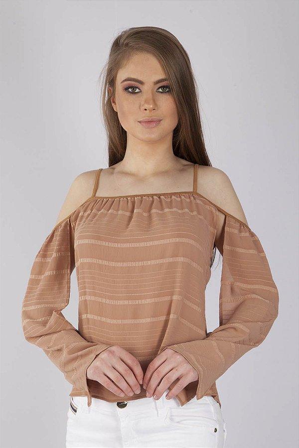Camisa Bana Bana de Alça com Abertura nas Mangas Caramelo