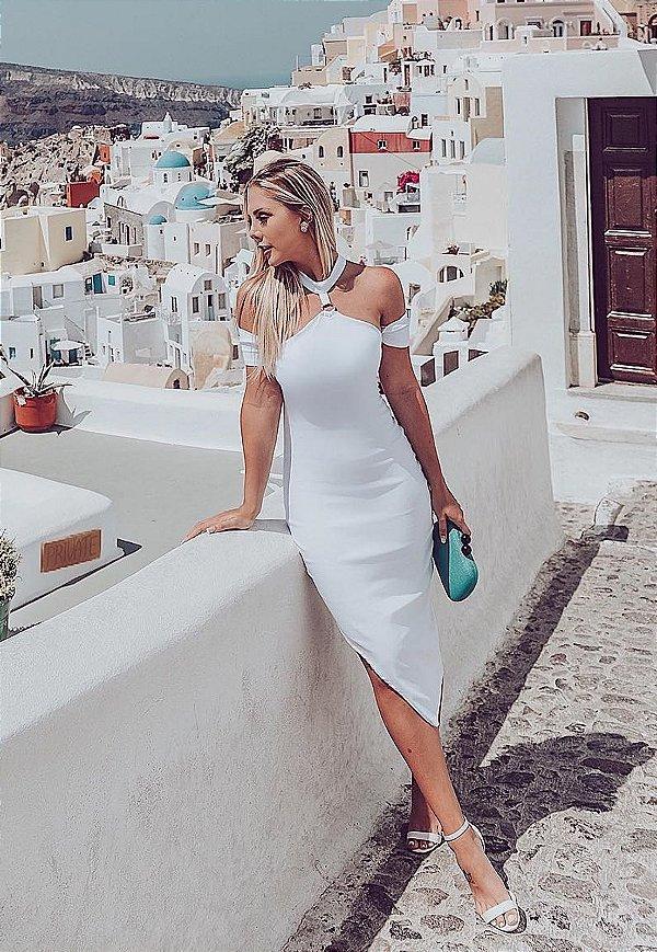 Vestido Midi Bana Bana Assimétrico com Argola Branco