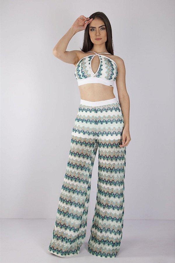 Conjunto Bana Bana de Renda Calça Pantalona e Top Cropped Strappy Off White e Verde