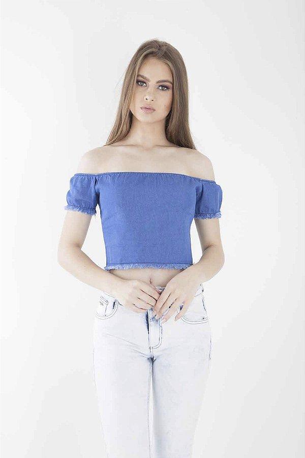 Top Jeans Bana Bana Ombro a Ombro com Lastex