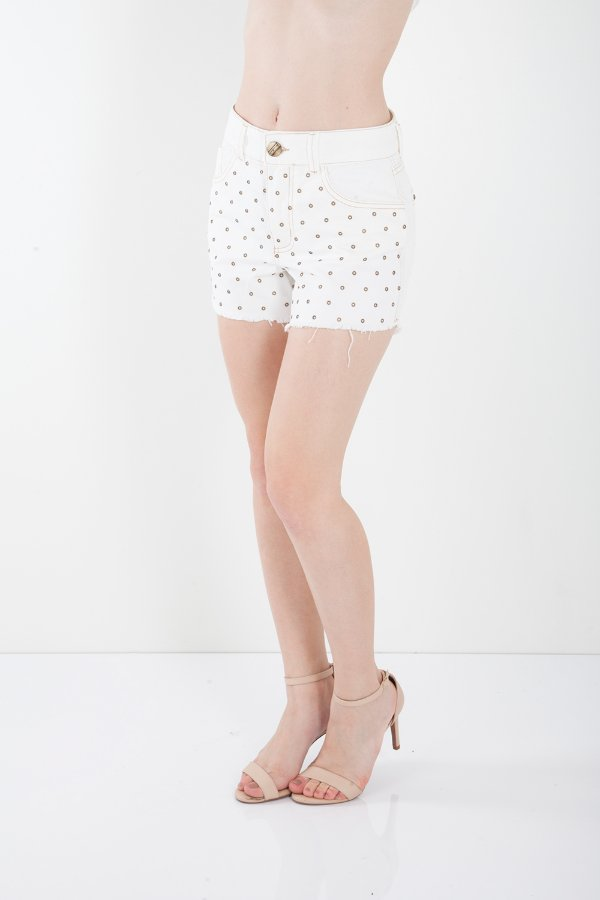 Shorts Jeans Bana Bana Hot Pants com Tachas Off White