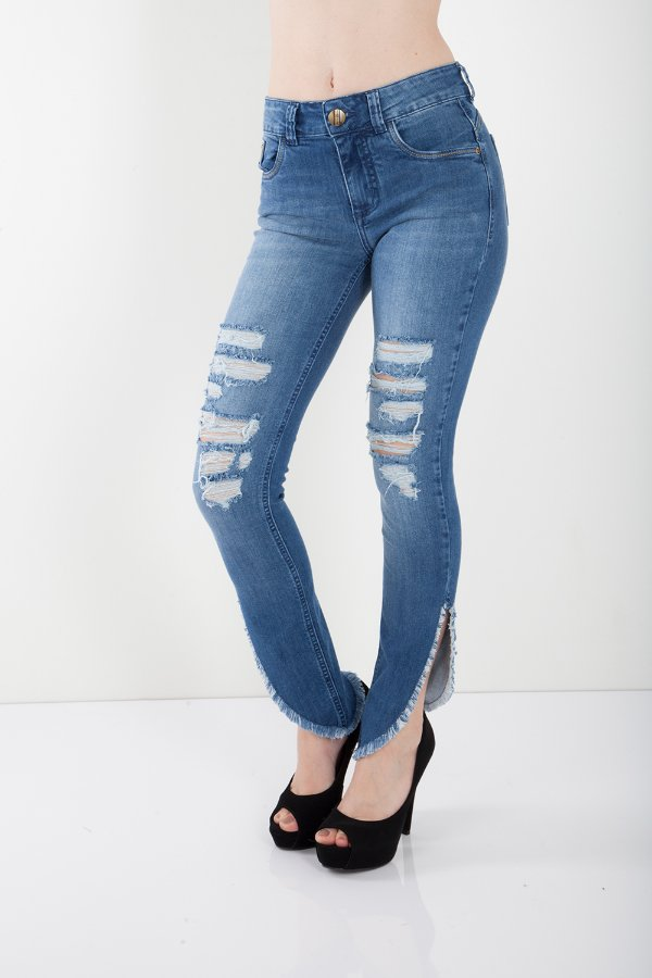 Calça Jeans Bana Bana Midi Skinny com Puídos e Fenda Lateral Azul