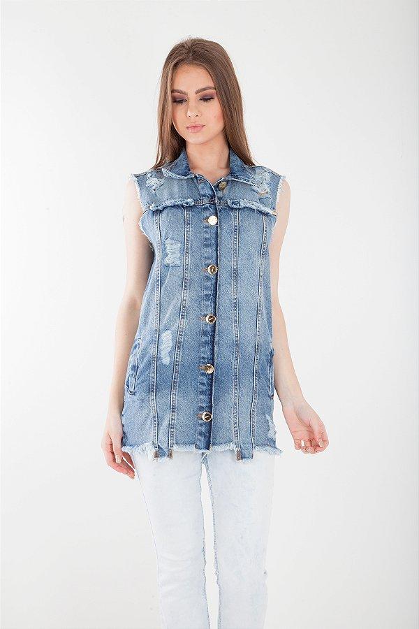 Colete Jeans Bana Bana com Patch Reversível Azul