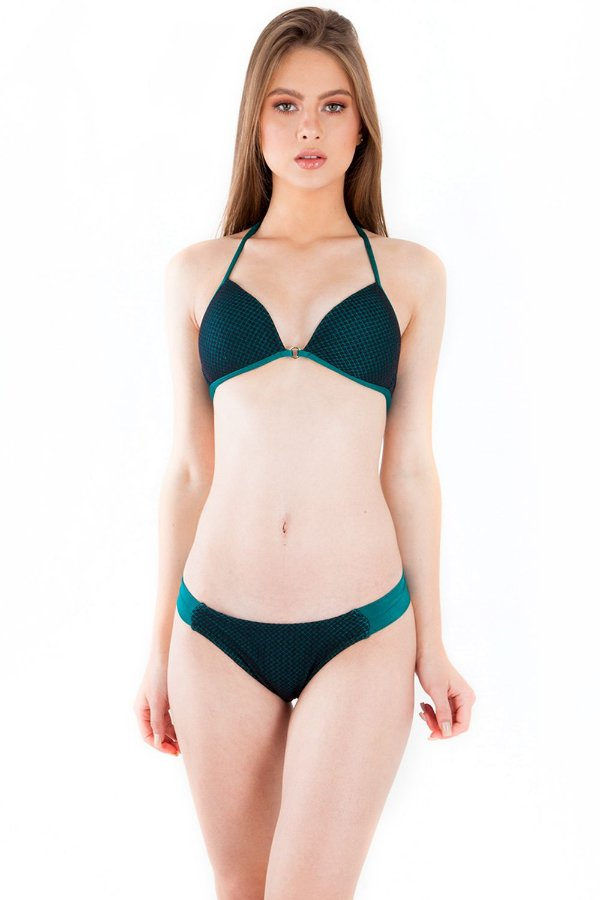Biquíni Bana Bana Top Meia Taça com Calcinha Inteira Verde Esmeralda