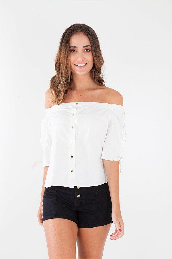 Camisa Bana Bana Ombro a Ombro Listrada Off White e Bege
