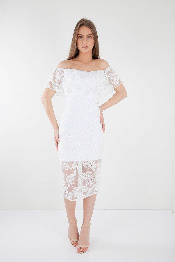 Vestido Midi Bana Bana Ombro a Ombro de Renda Off White
