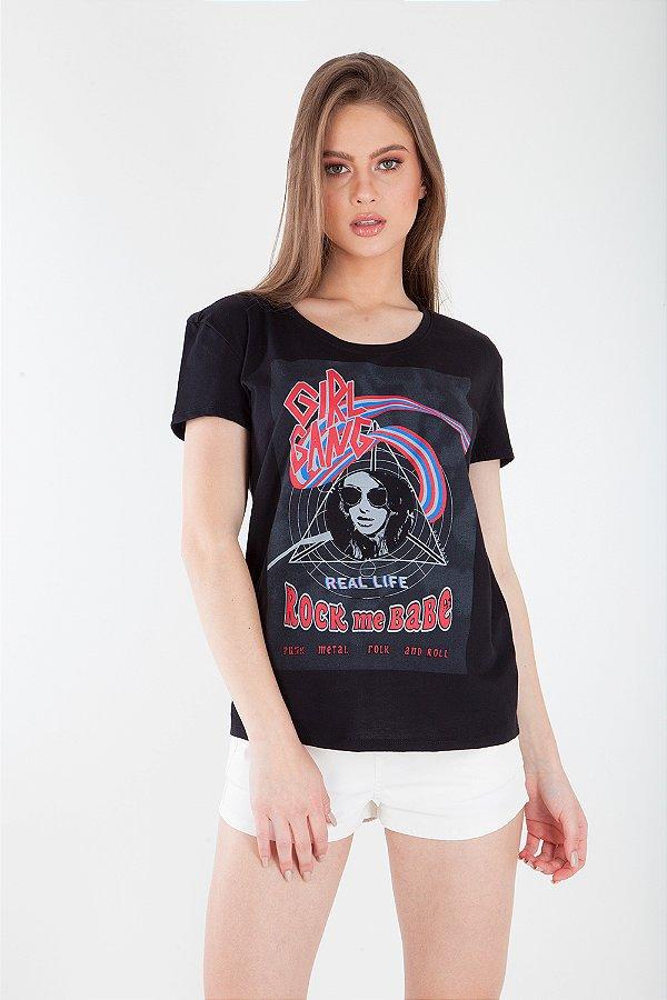 T-Shirt Bana Bana com Estampa Preta