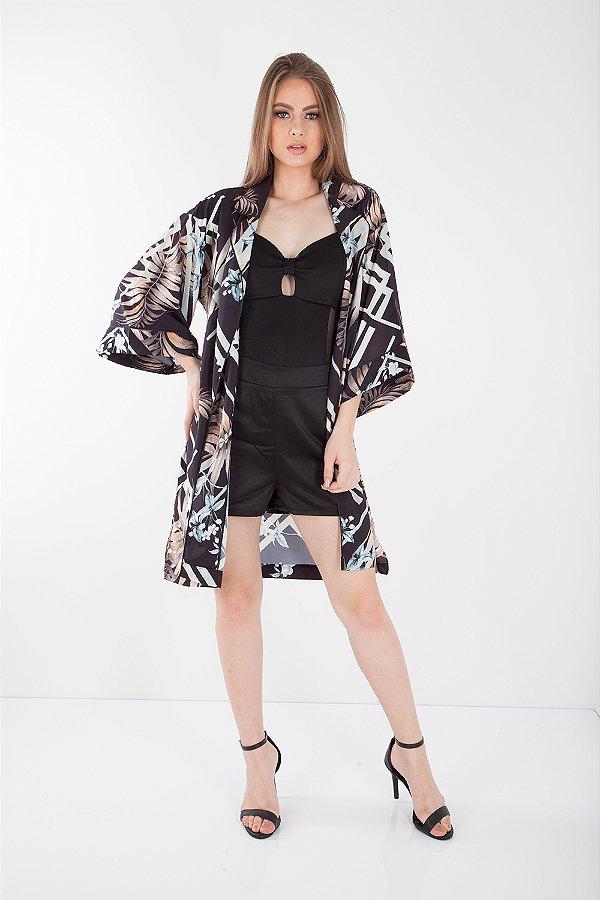 Kimono Bana Bana Estampado Preto
