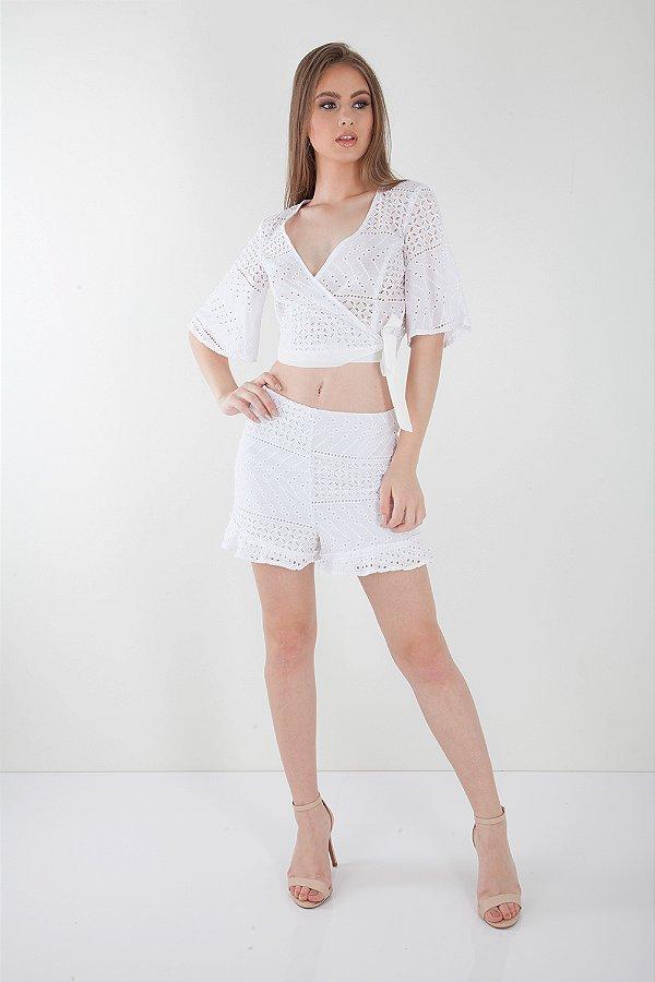 Shorts Bana Bana em Laise Branco
